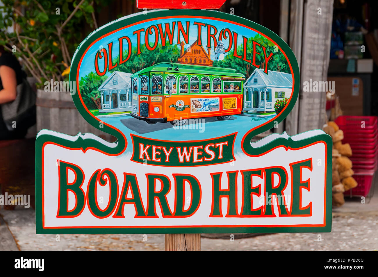 Old Town Trolley Key West Board Here sign for stop on city sightseeing tour, Key West, Florida - Stock Image