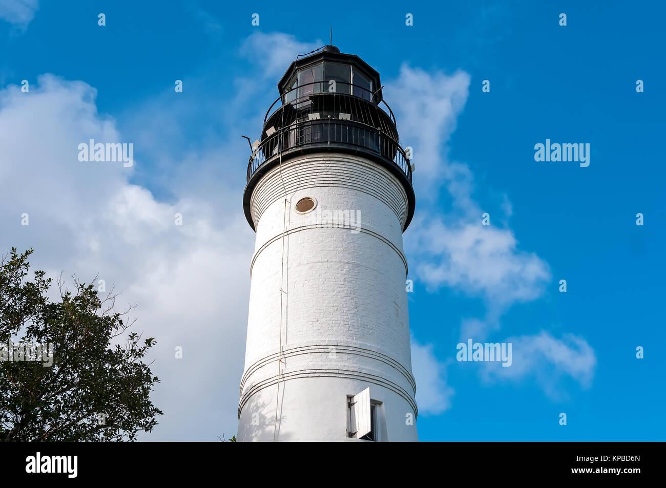 Key West lighthouse tower top, Whitehead St, Key West, Florida - Stock Image