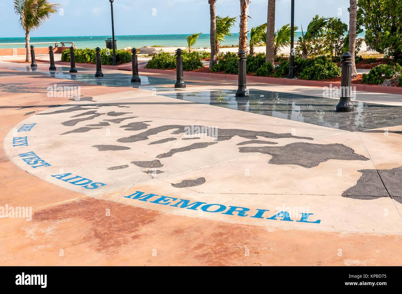 The Key West Aids Memorial at Higgs Memorial Beach, Key West, Florida - Stock Image