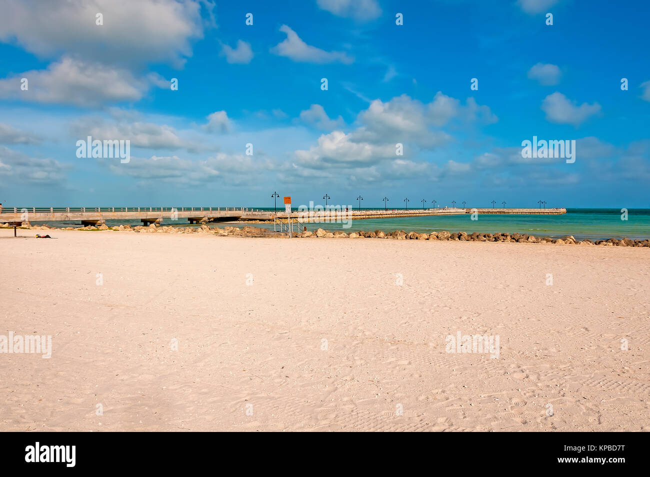 White sand and White Street Pier at Higgs Memorial Beach Key West Florida - Stock Image