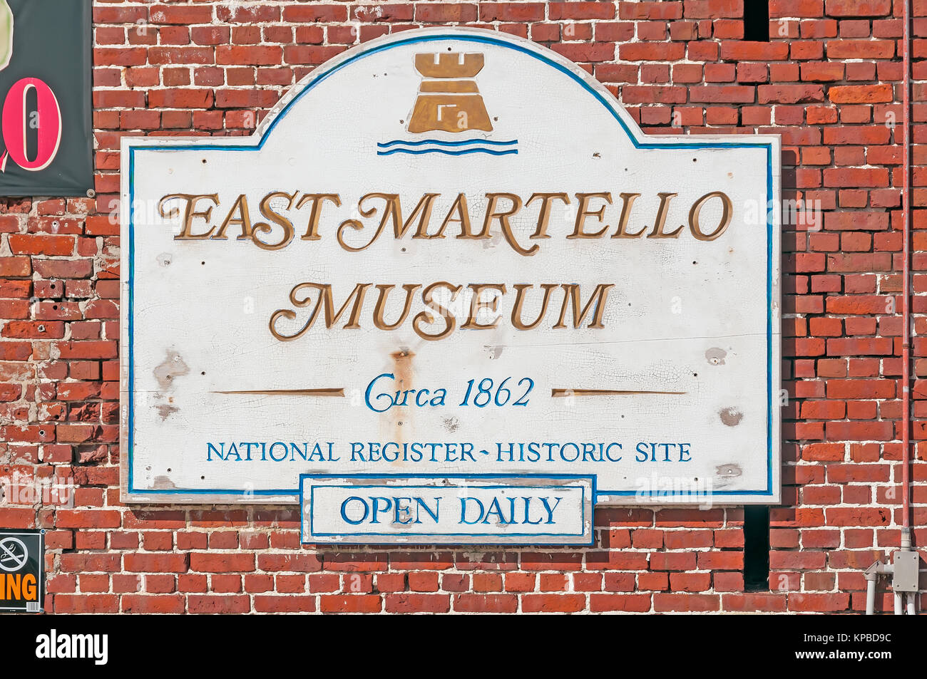 Fort East Martello Tower Museum entrance sign, Civil War fort circa 1862, home of Robert The Haunted Doll, Key West - Stock Image