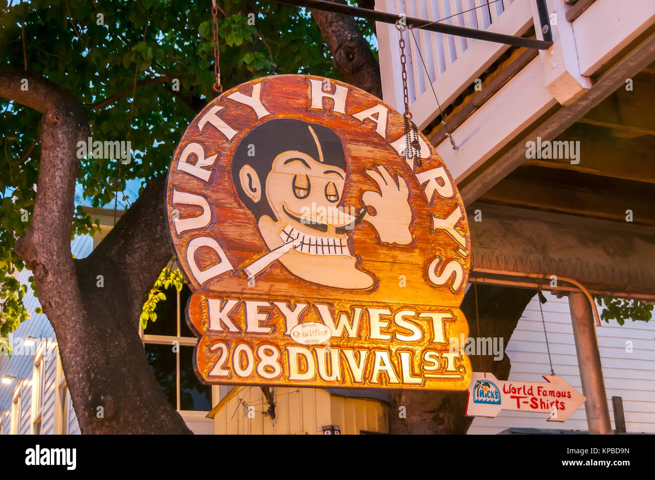 Durty Harrys Bar features rock music and live performances, Duval Street Key West Florida - Stock Image