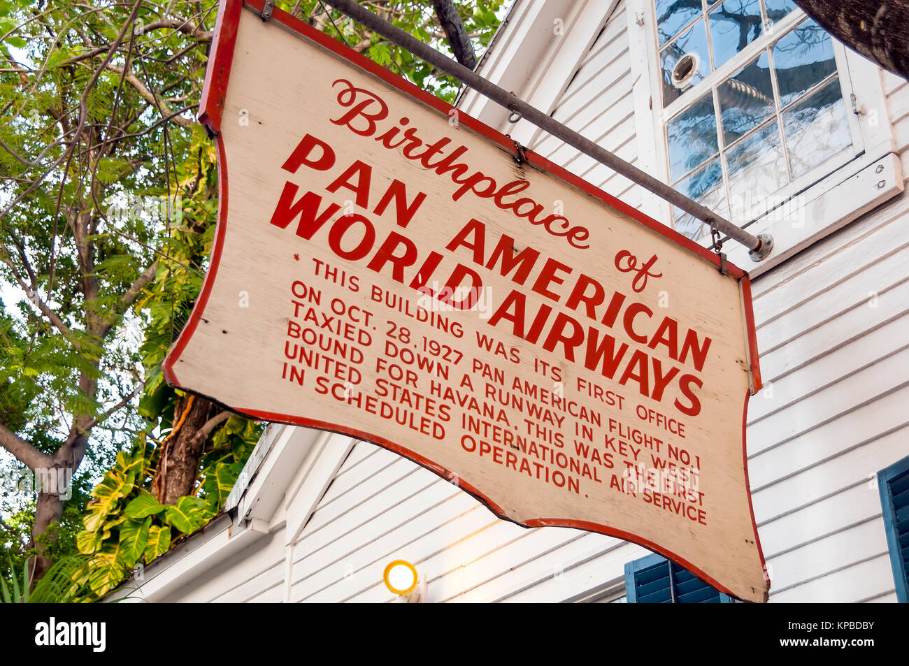 Birthplace of Pan Amerian World Airways Sign, Key West, Florida - Stock Image