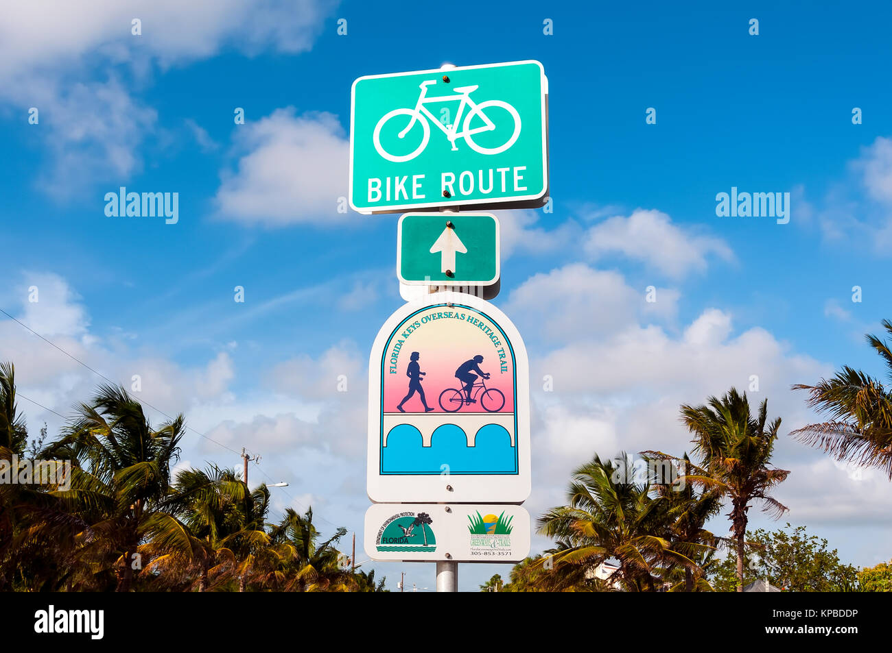 Florida Keys Overseas Heritage Trail bike route sign, Key West, Florida - Stock Image