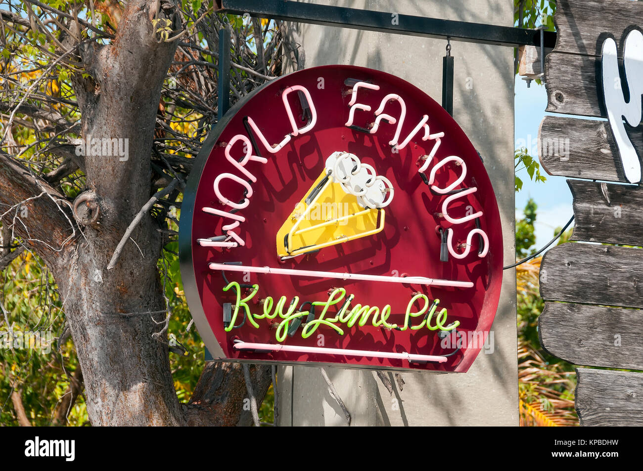 World Famous Key Lime Pie outdoor neon sign Key West Florida - Stock Image