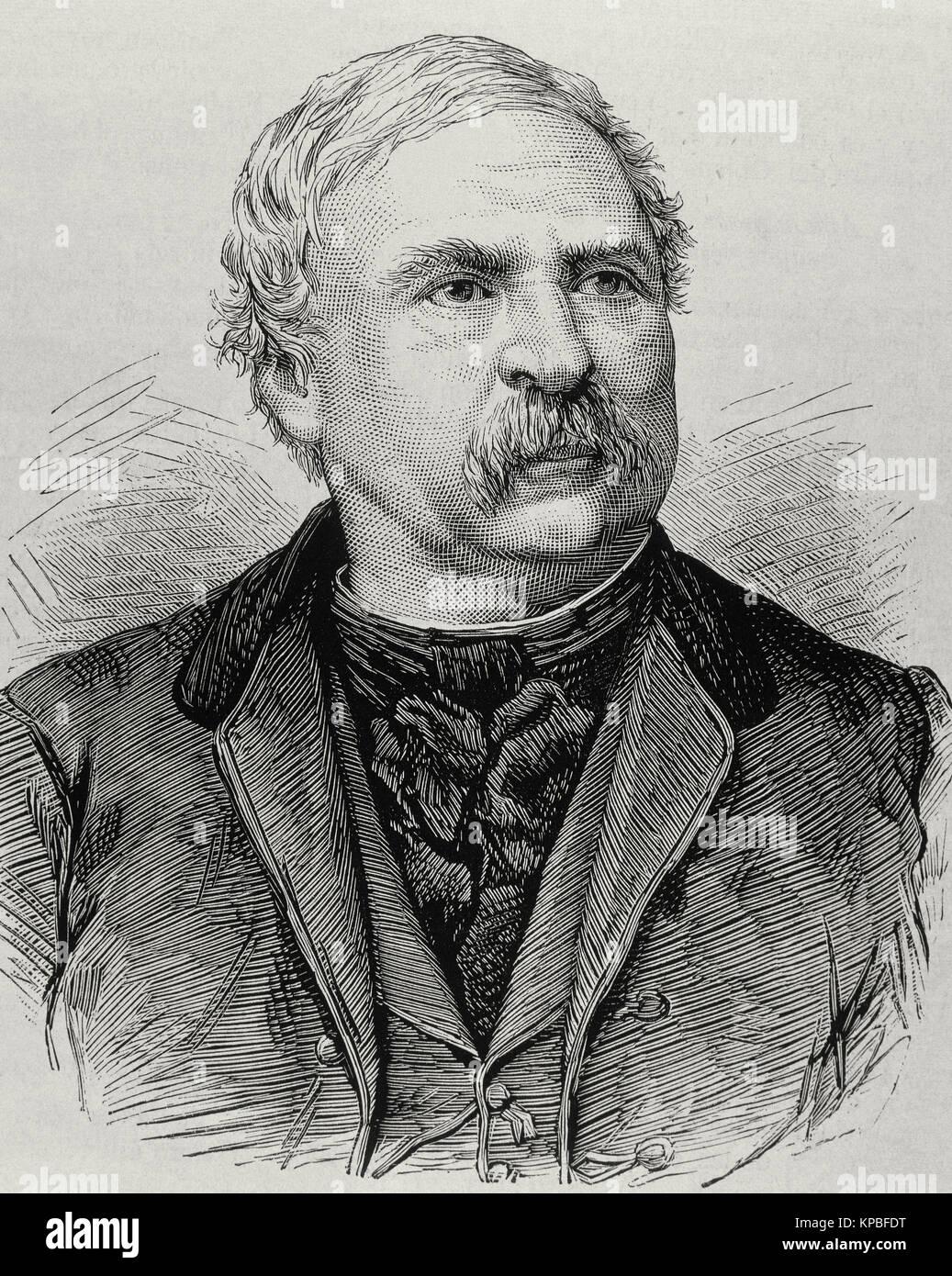 Ferenc Deak (1803-1876). Hungarian politician. Portrait. Engraving - Stock Image