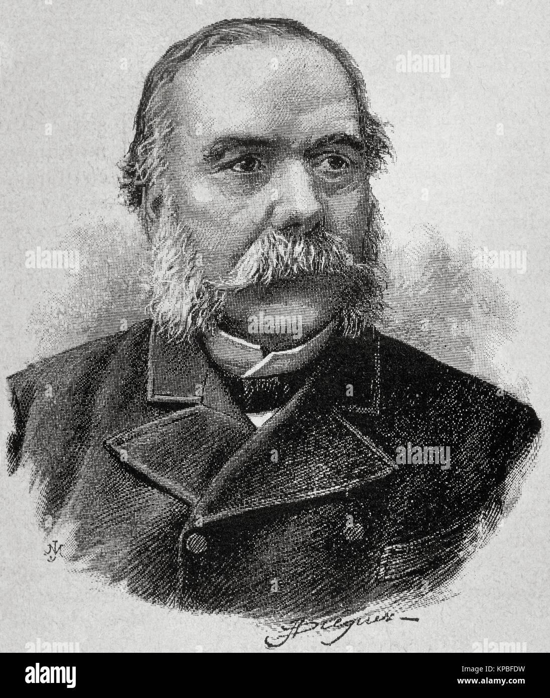 Jose Ferrer Vidal (1817-1893). Catalan industrialist, economist and politician. Portrait. Engraving. - Stock Image
