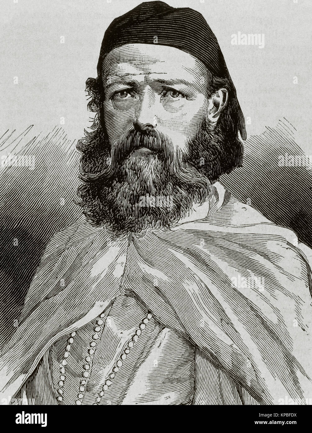 Joaquin Gatell y Folch, known as Caid Ismail (1826-1879). Spanish explorer and Arabist. Portrait. Engraving. 'La - Stock Image