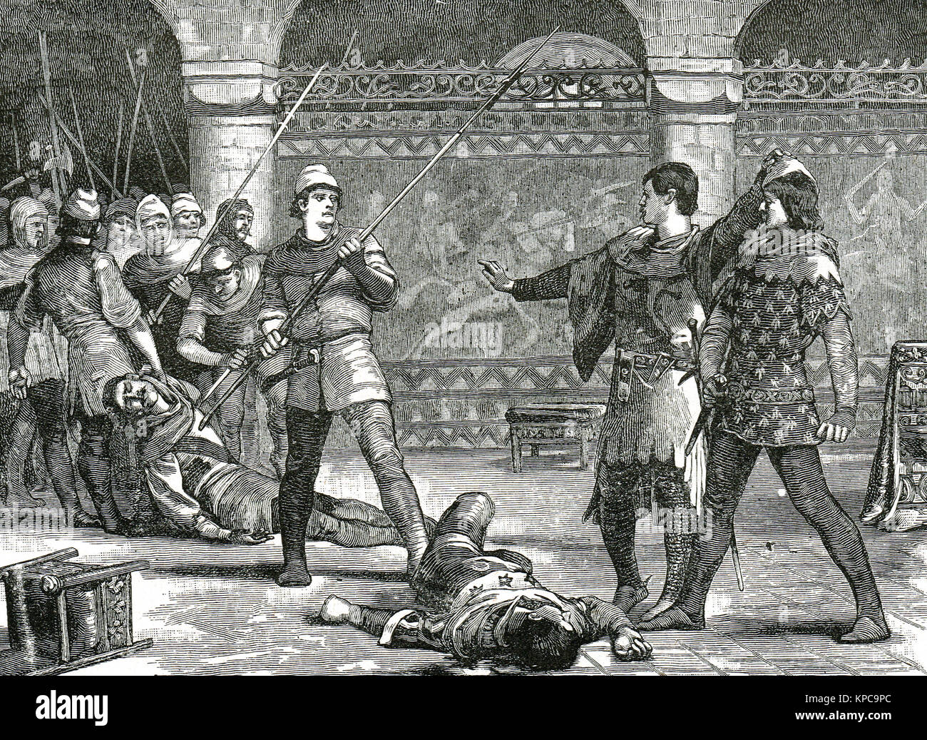Etienne Marcel murders the marshals before the Dauphin, 1358 - Stock Image