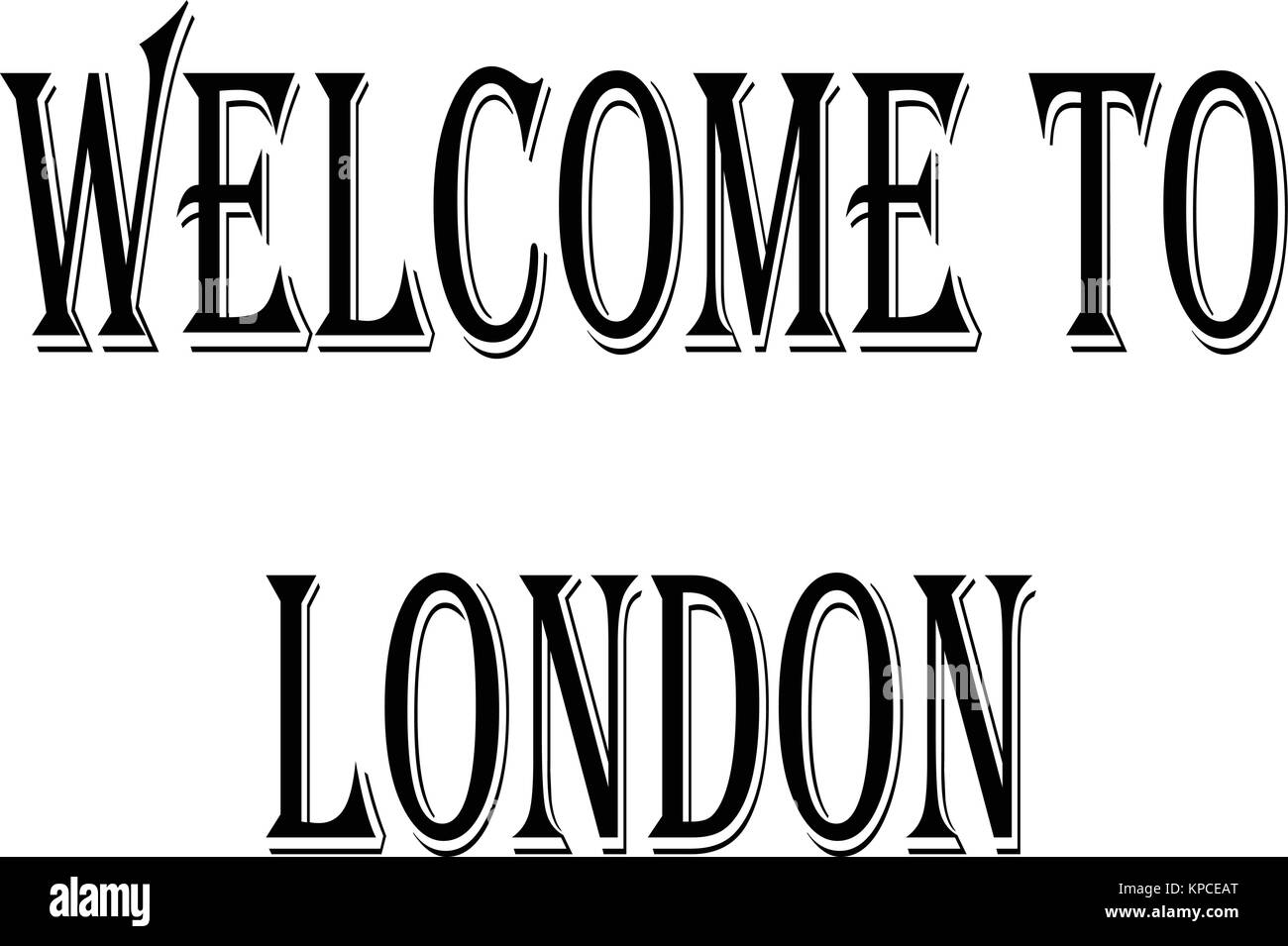 Welcome to london text sign illuastration on white background - Stock Image