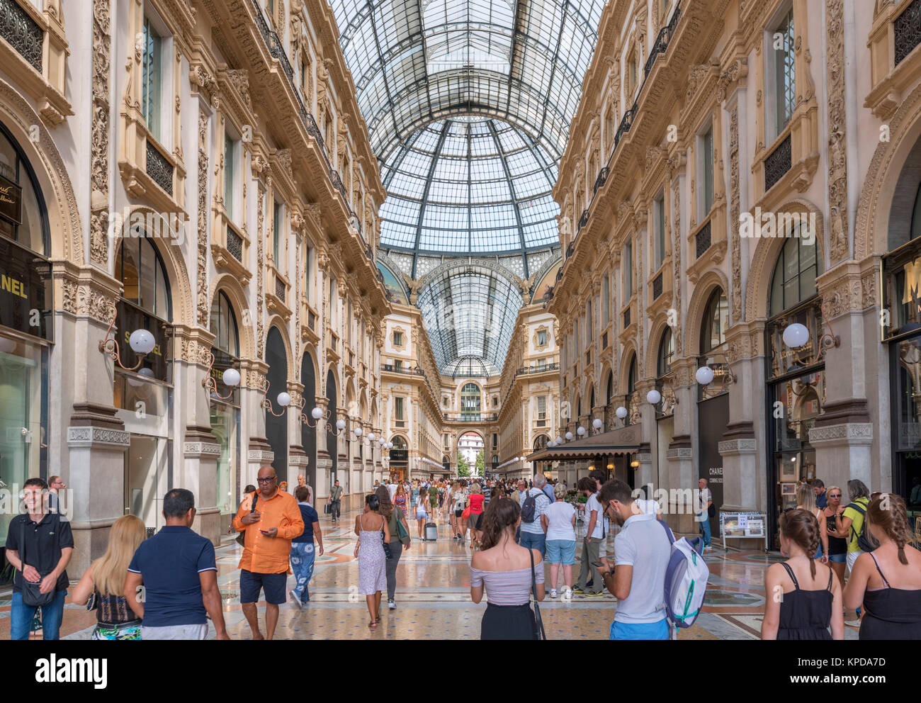 Shops in Galleria Vittorio Emanuele II, an historic shopping mall in the city centre, Milan, Lombardy, Italy - Stock Image