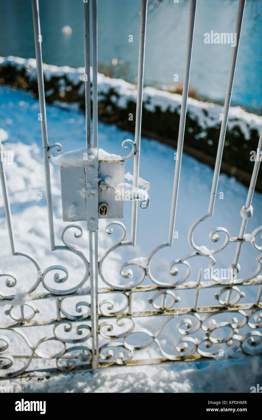 Old metal doors under the snow - Stock Image