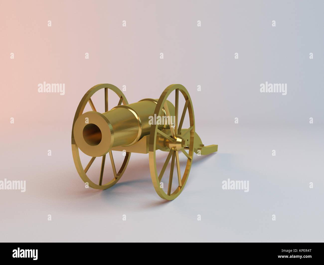 3d golden metal canon antique - Stock Image