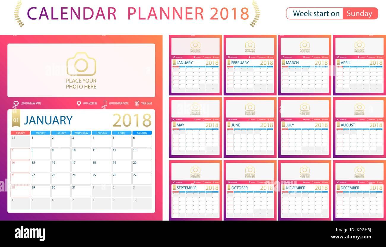Calendar Planner C : English calendar planner for year week start sunday