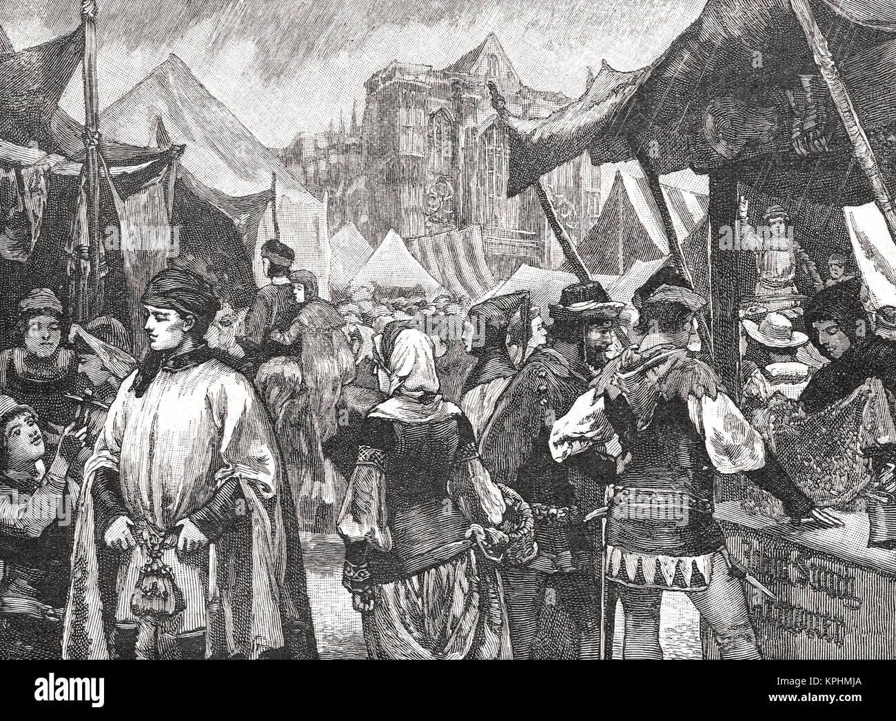 Fair at Westminster in the 14th century - Stock Image