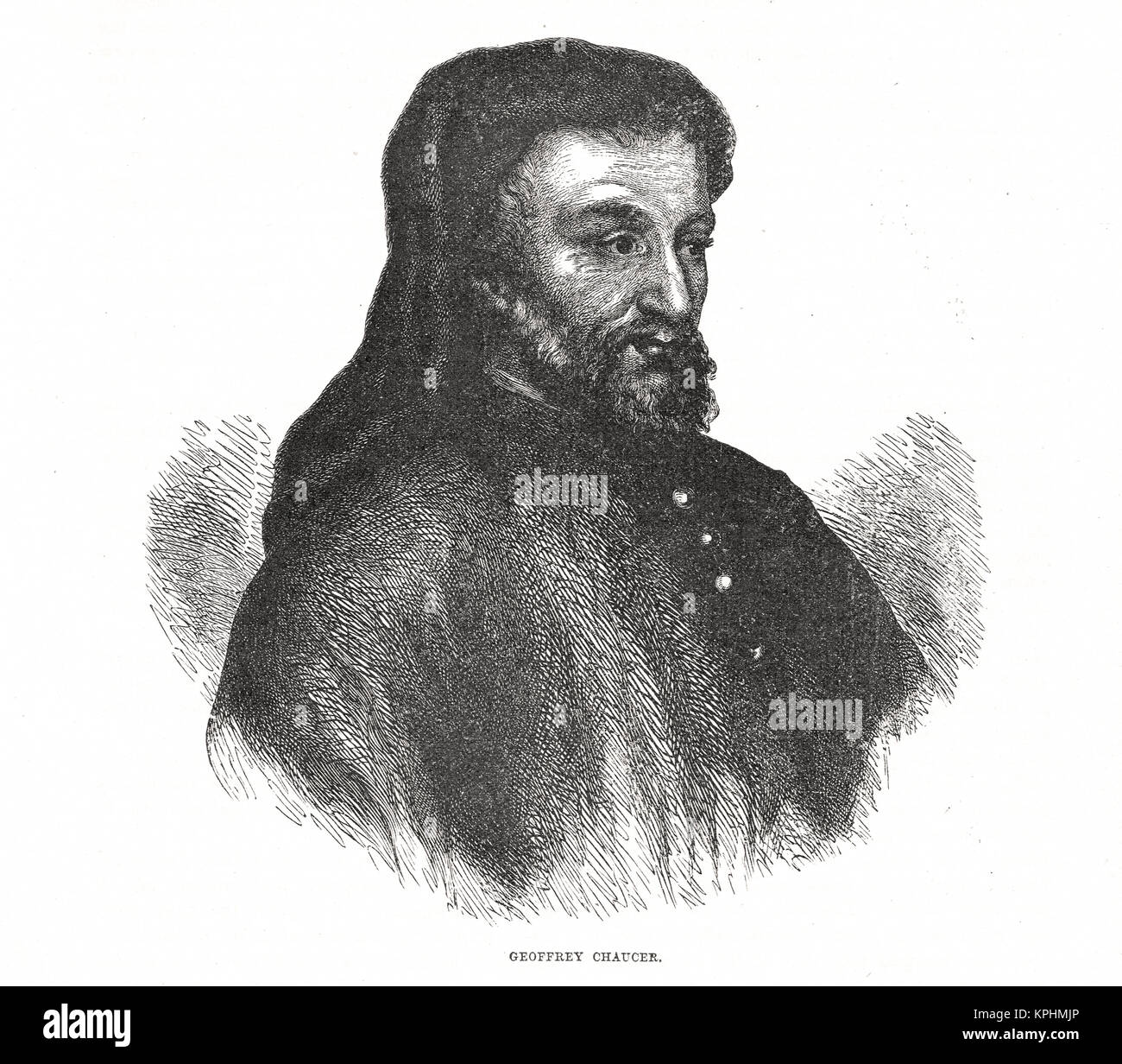 Geoffrey Chaucer English poet, 1343-1400 - Stock Image