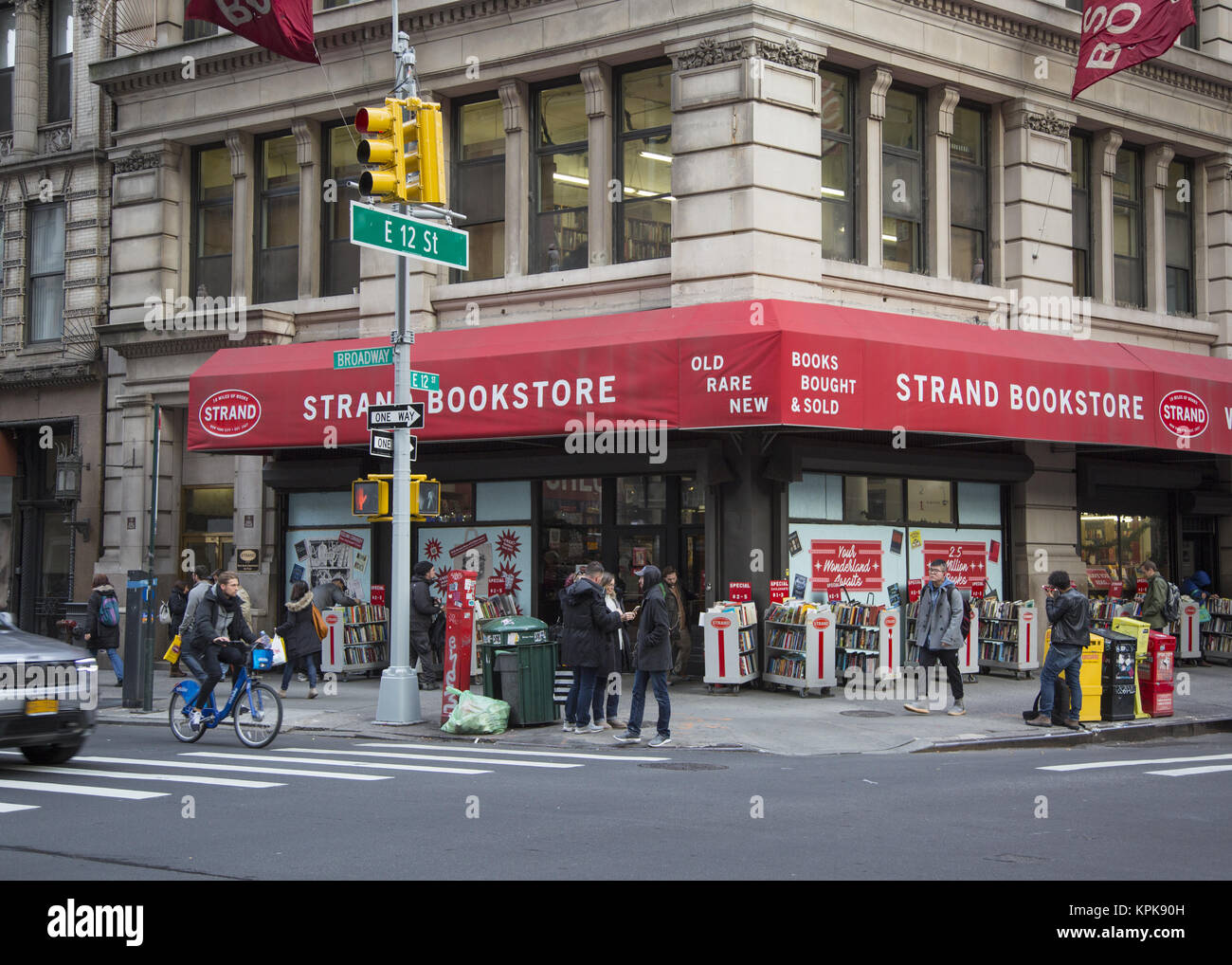 The famous Strand Bookstore at the corner of 12th Street and Broadway in New York City. - Stock Image