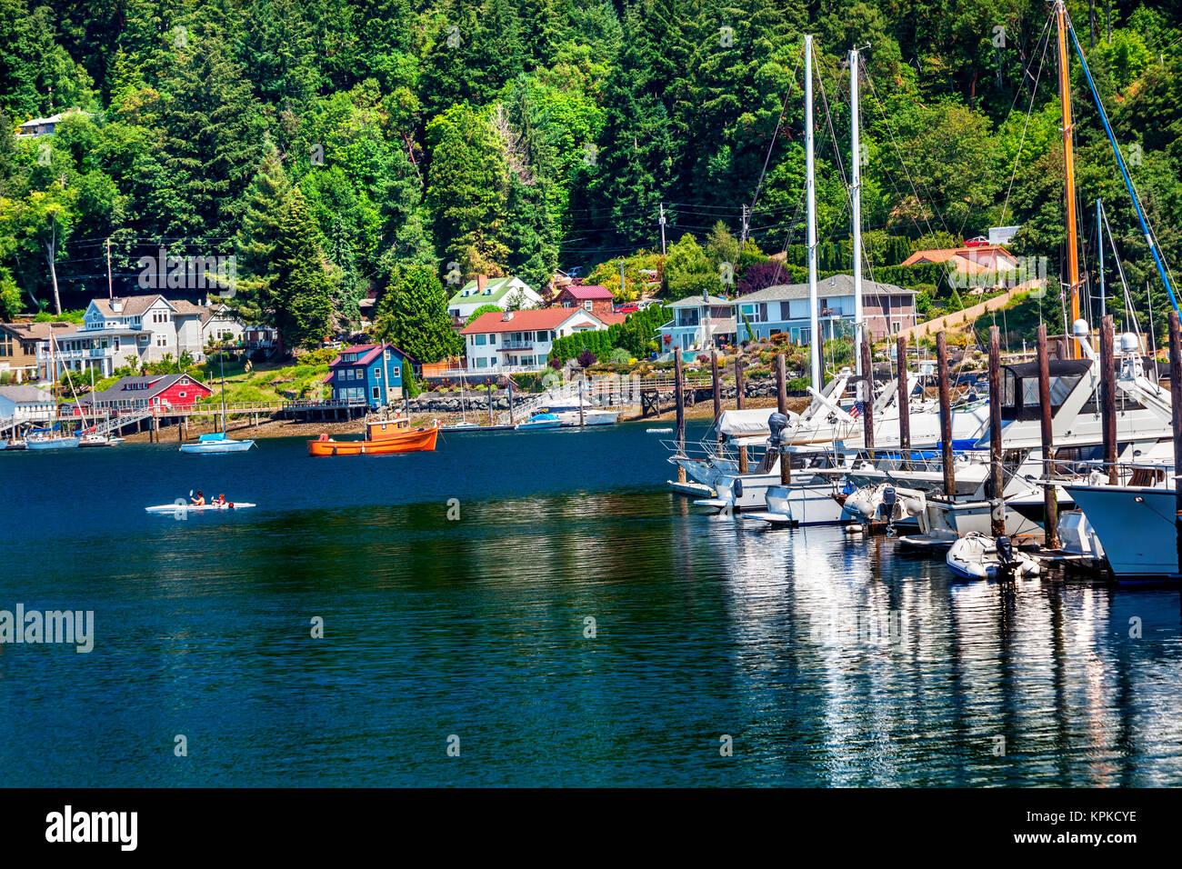 White Sailboats Marina Kayak Reflection, Gig Harbor, Pierce County, Washington State - Stock Image