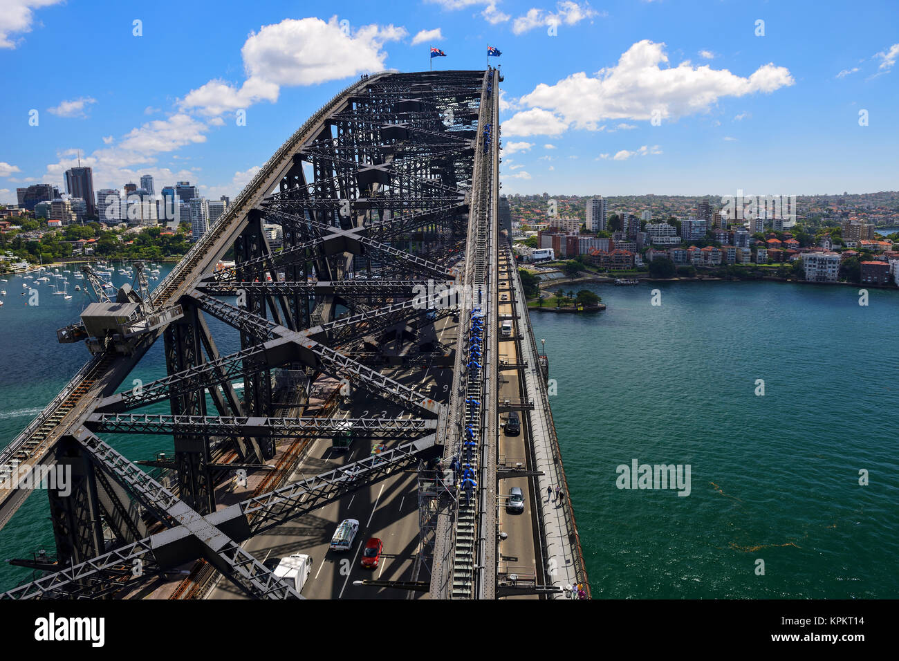 Sydney Harbour Bridge climb viewed from top of South Pylon Lookout, Sydney, New South Wales, Australia - Stock Image
