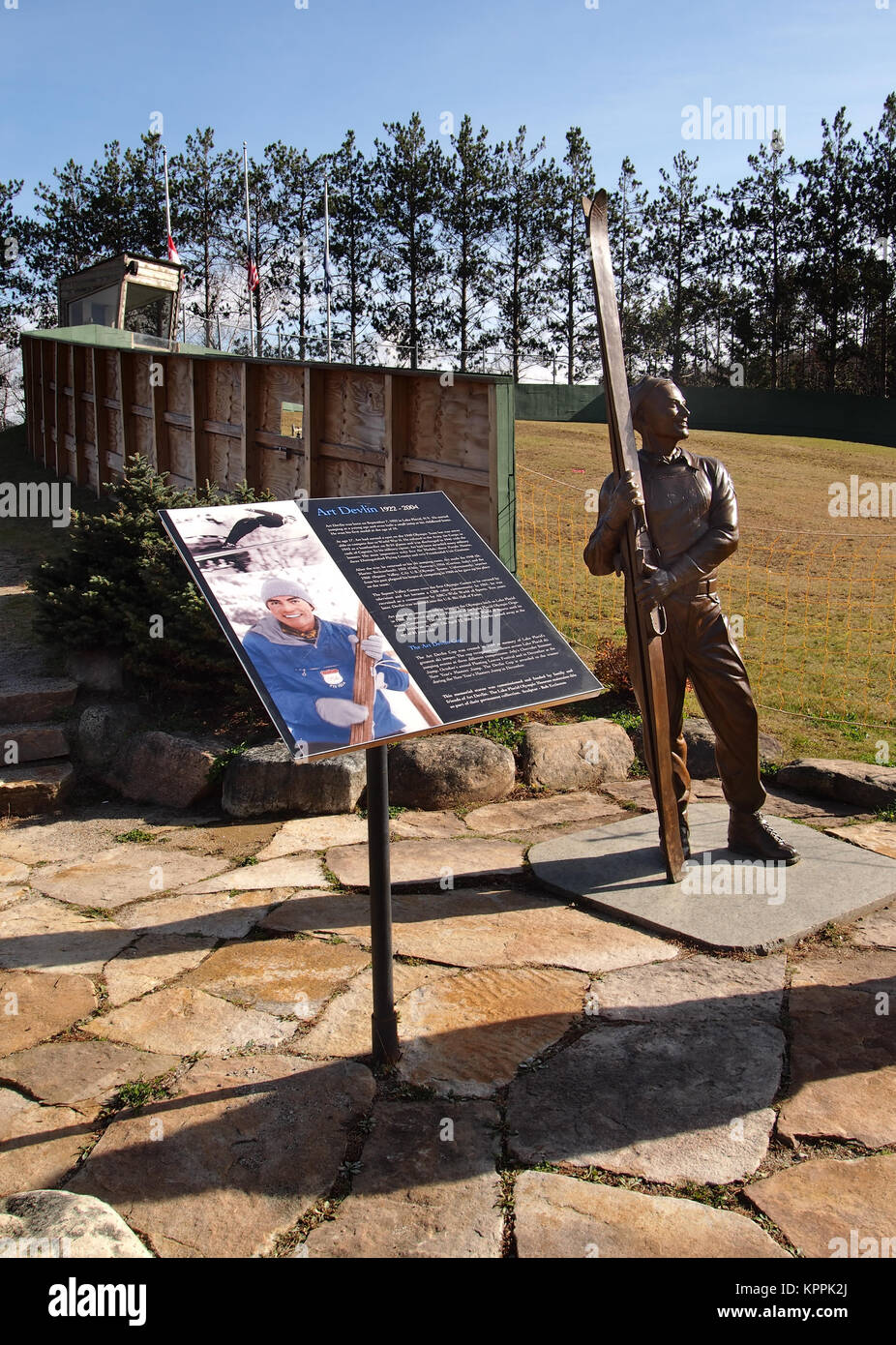 Lake Placid , New York, USA. October 10, 2017. Statue and memorial to Art Devlin , Olympic ski jumper who was born - Stock Image
