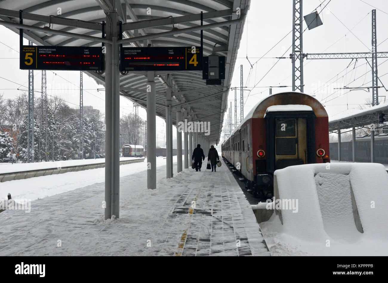 A train on the platform at Vidin railway station, north-western Bulgaria, near Romania, eastern Europe - Stock Image
