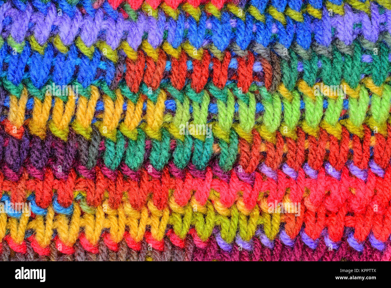 Muted colorful or colourful knitting stitch background.knit - Stock Image