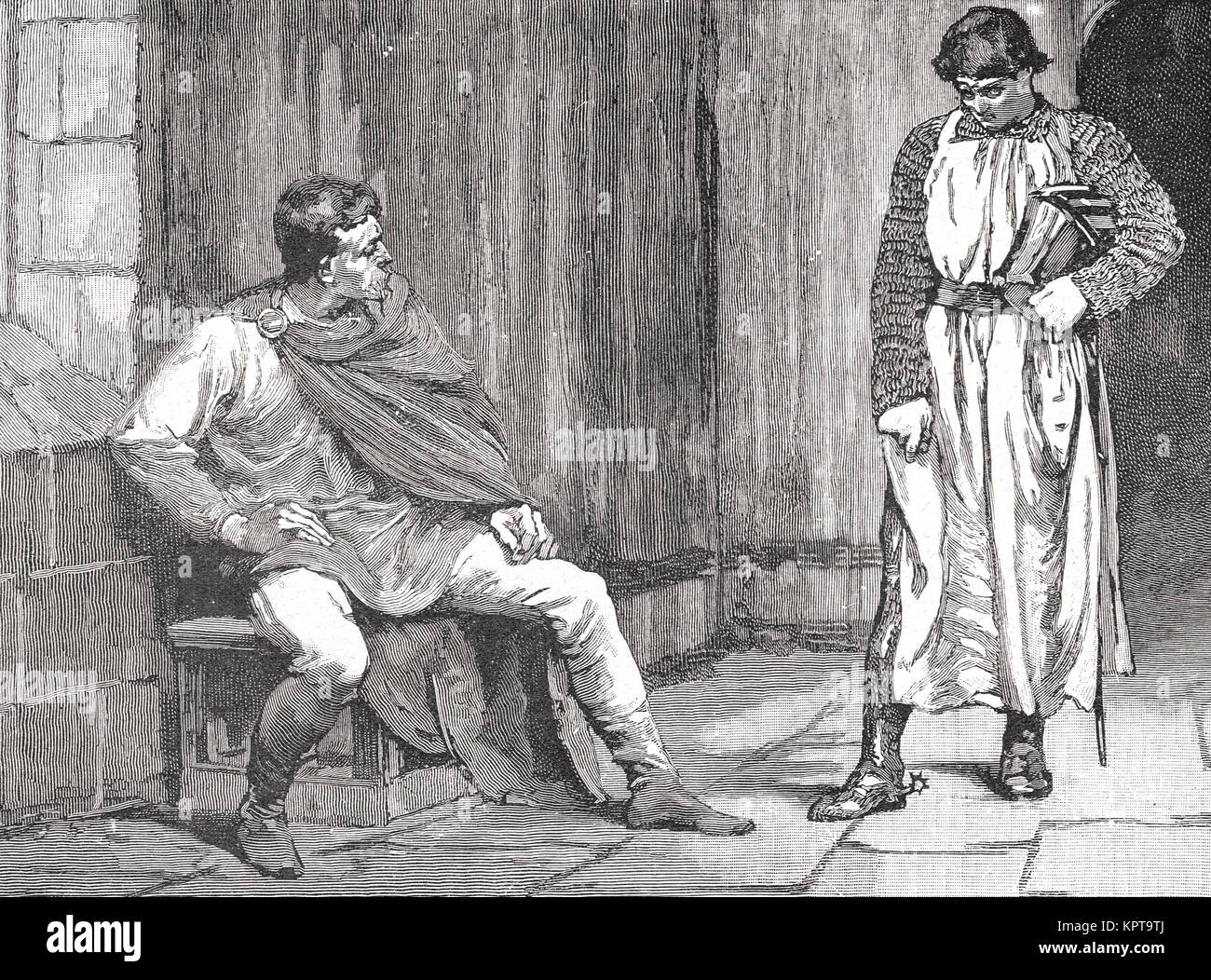 The confession of Waltheof, 1st Earl of Northumbria, 1075, following the Revolt of the Earls - Stock Image
