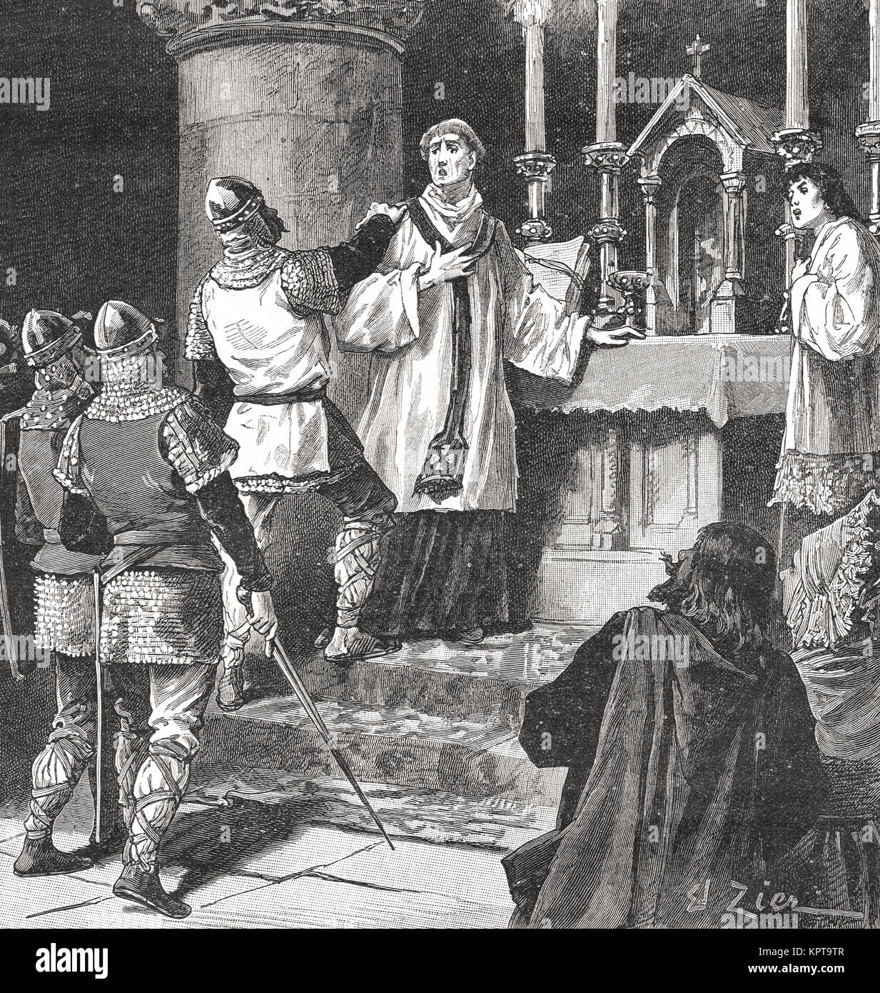The arrest of archbishop Geoffrey, priory of St. Martin in Dover, 1191 - Stock Image