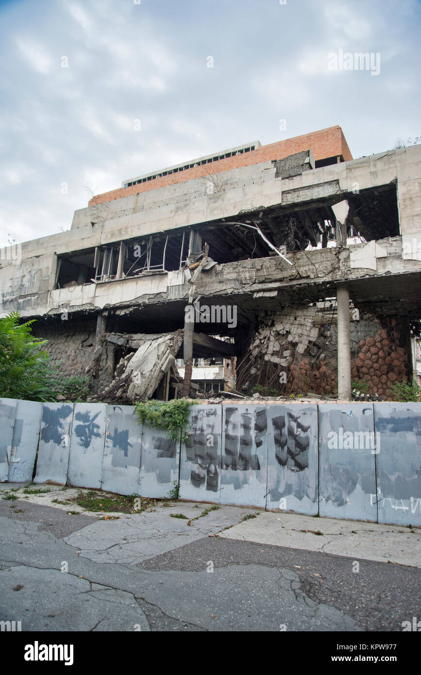 Ministry of Defense destroyed by bombing NATO 1999, Belgrade, Serbia. - Stock Image