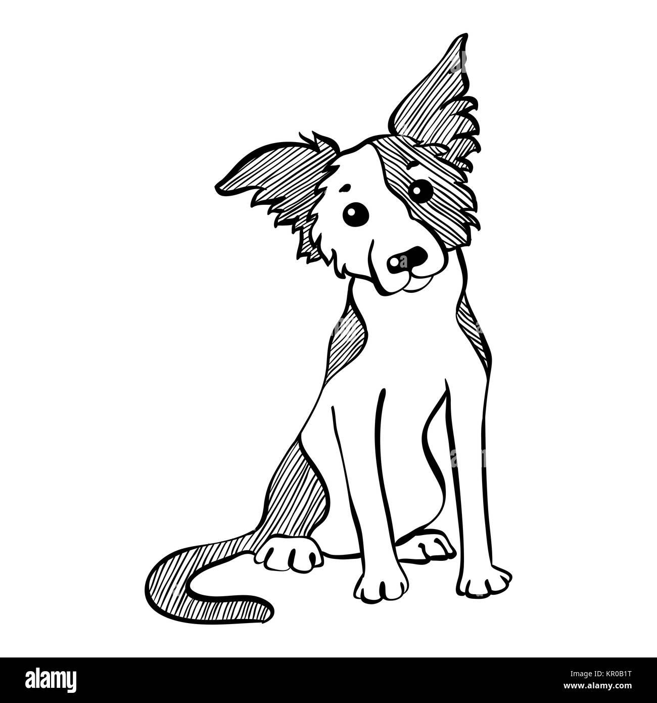 Cartoon Sitting Dog Collar Pet Stock Photos & Cartoon ...
