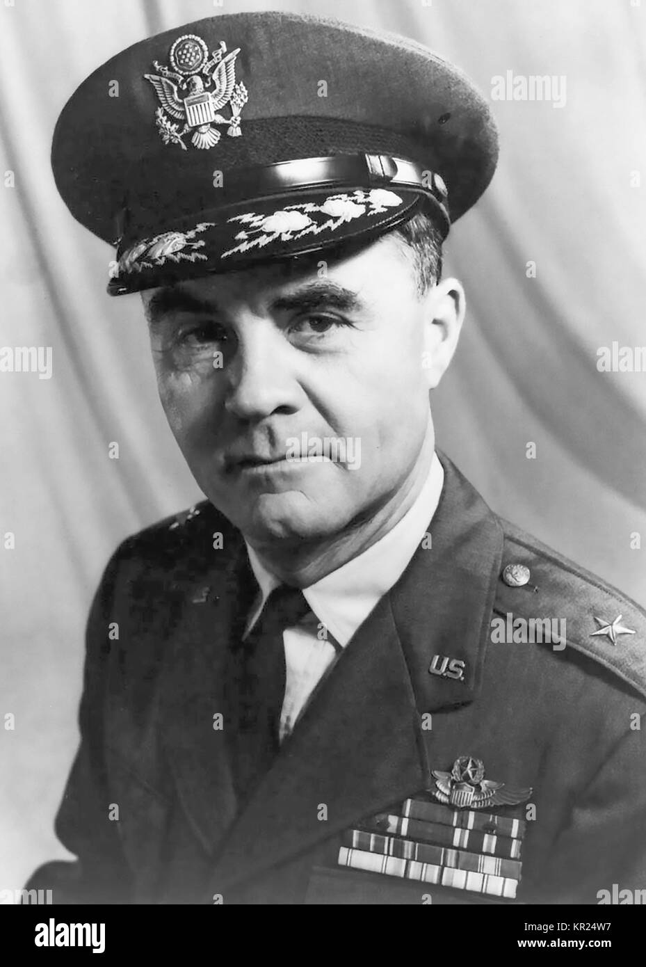 PAUL TIBBETS (1915-2007) As a Brigadier General in the USAF. He piloted the Enola Gay which dropped Little Boy, - Stock Image