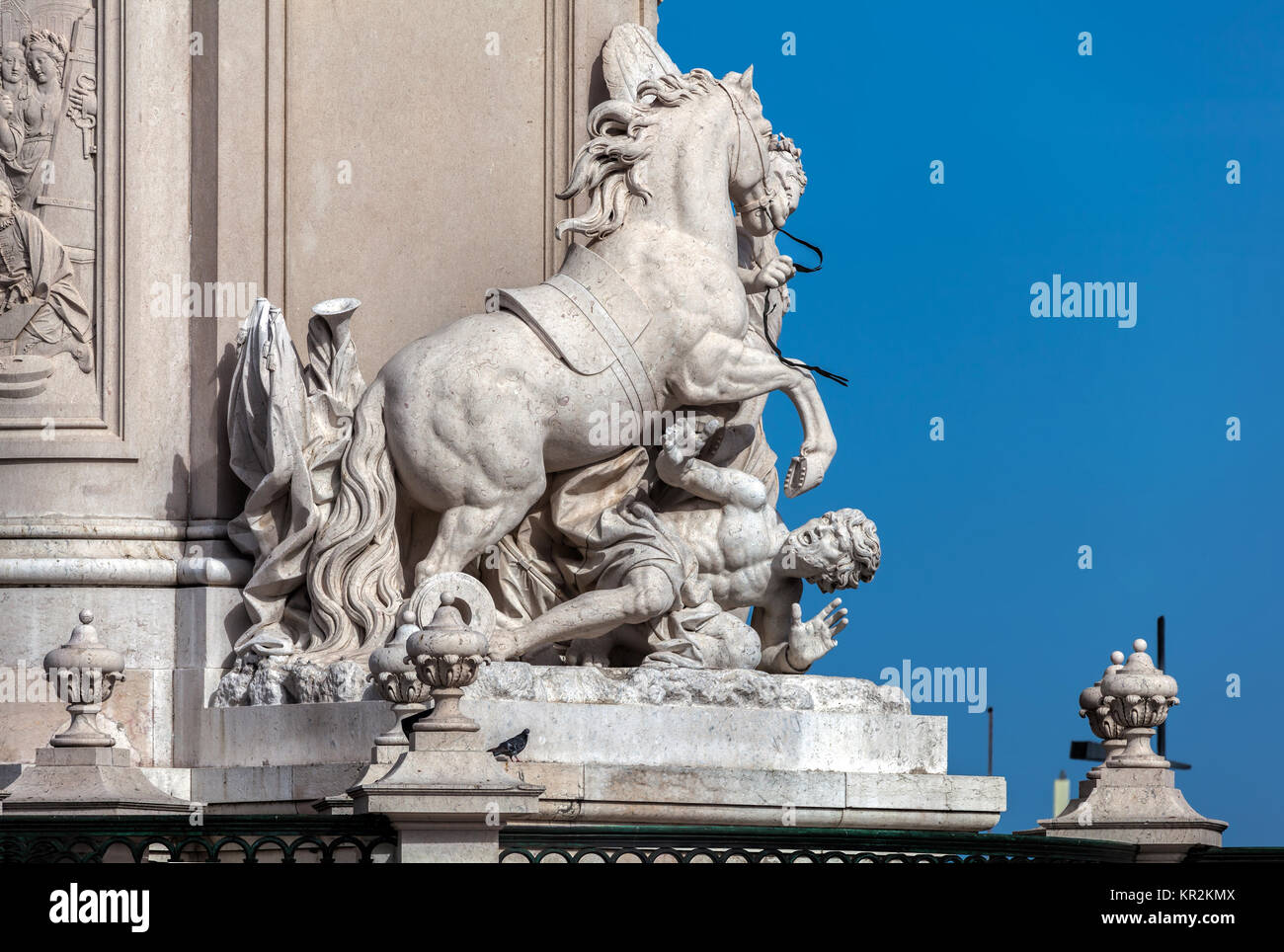 Fragment of the monument to the King Jose I in Lisbon, Portugal - Stock Image