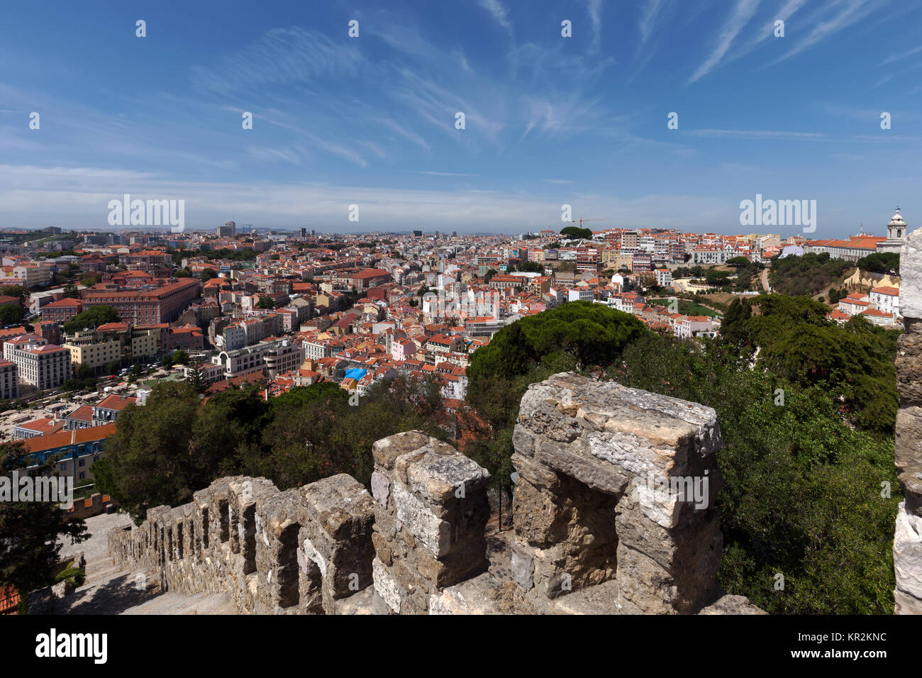 City of Lisbon, Portugal, seen from Sao Jorge Castle. The castle, constructed during the Moorish occupation of Lisbon, - Stock Image