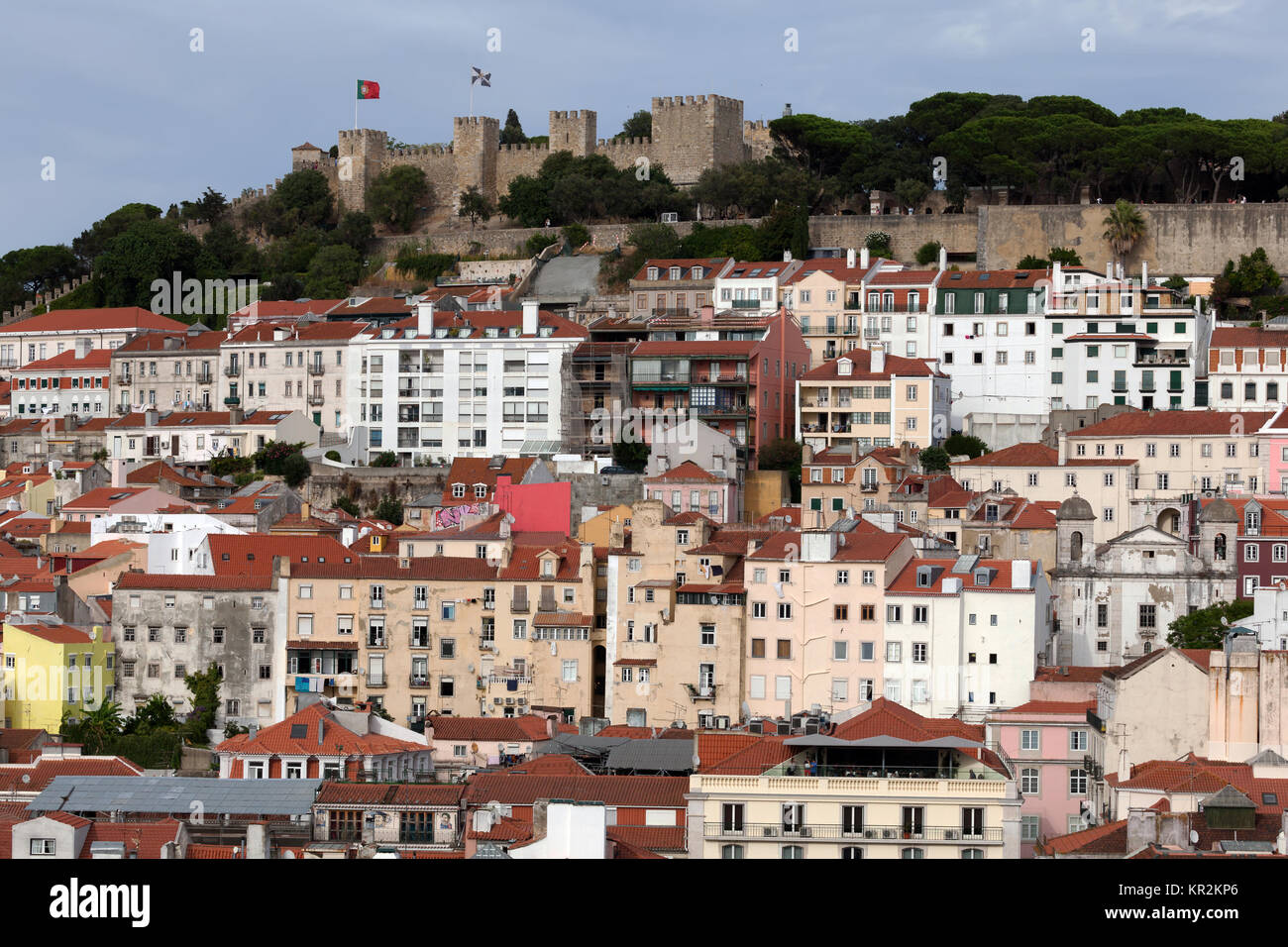 View of Lisbon, Portugal from the Santa Justa Lift, towards the Saint George Castle. - Stock Image