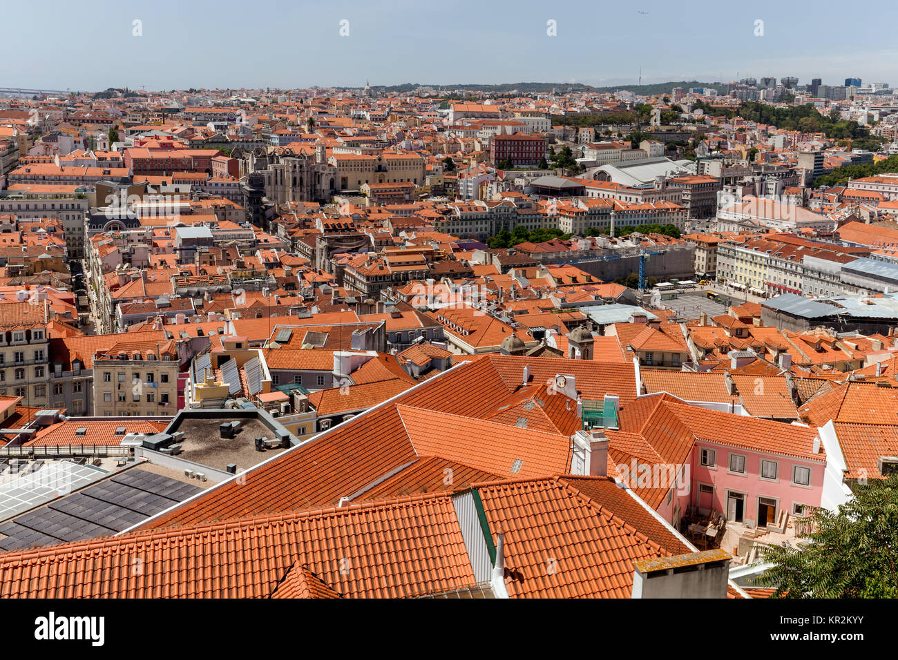 City of Lisbon, Portugal, view from the Sao Jorge Castle. - Stock Image