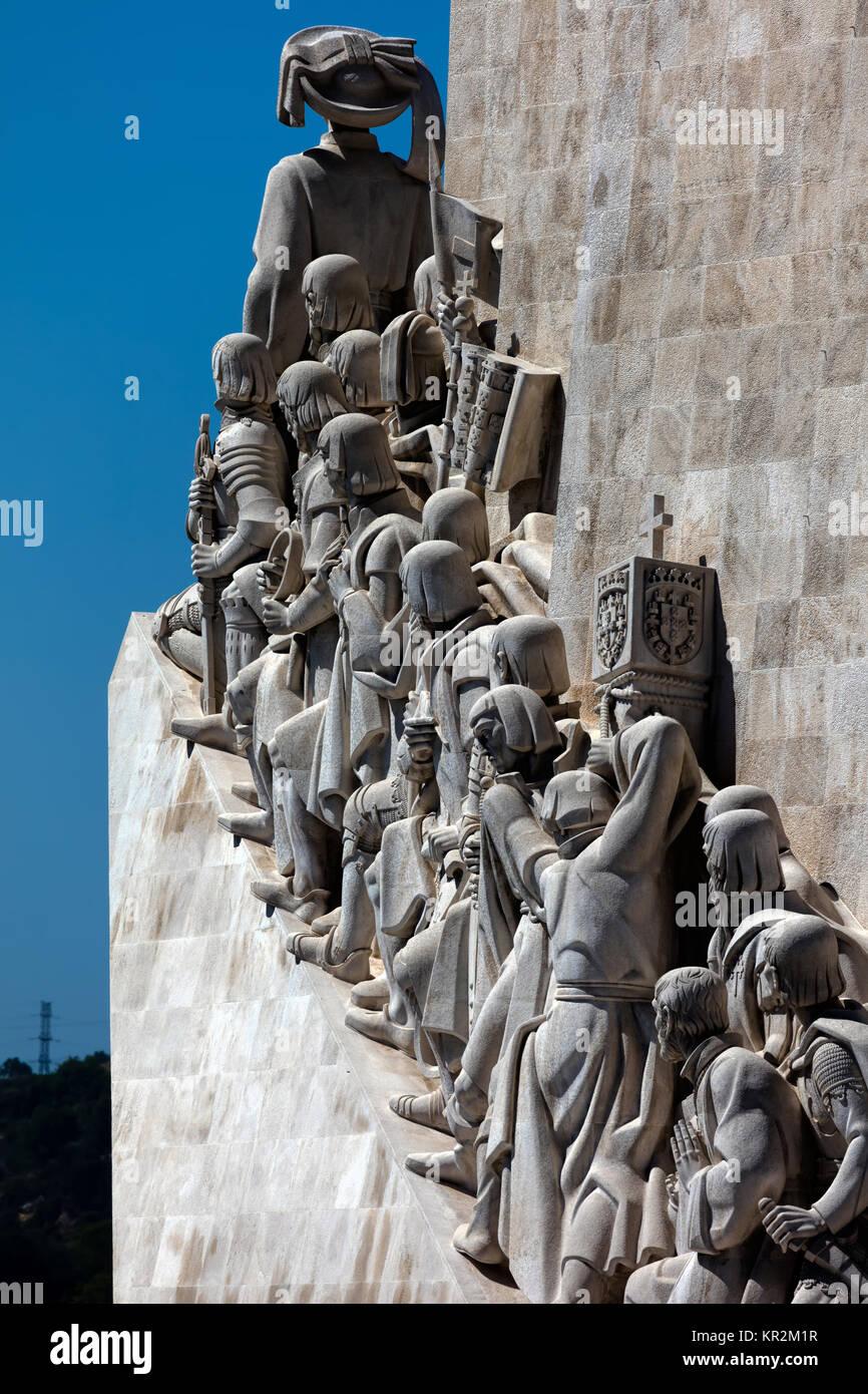 Lisbon, Portugal, August 6, 2017: Monument to the Discoveries, architect Cottinelli Telmo, sculptor Leopoldo de - Stock Image