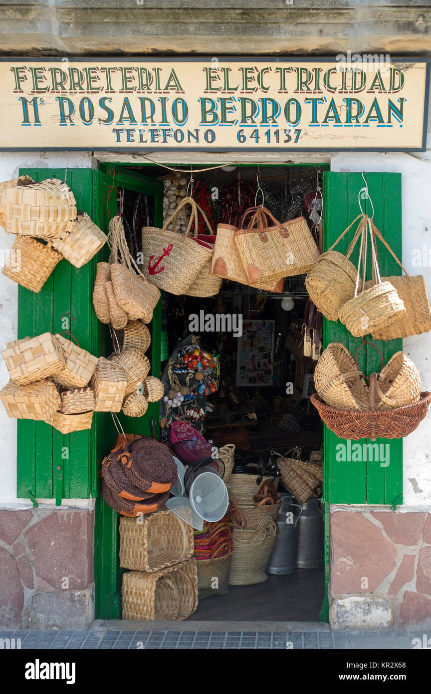 Old hardware store with esparto bags.Hondarribia.Guipuzcoa.Vasque Country.Spain - Stock Image