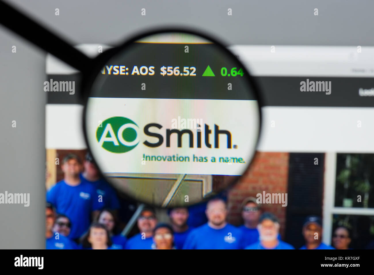 Milan, Italy - August 10, 2017: A.O.Smith website homepage. It is an American manufacturer of both residential and - Stock Image
