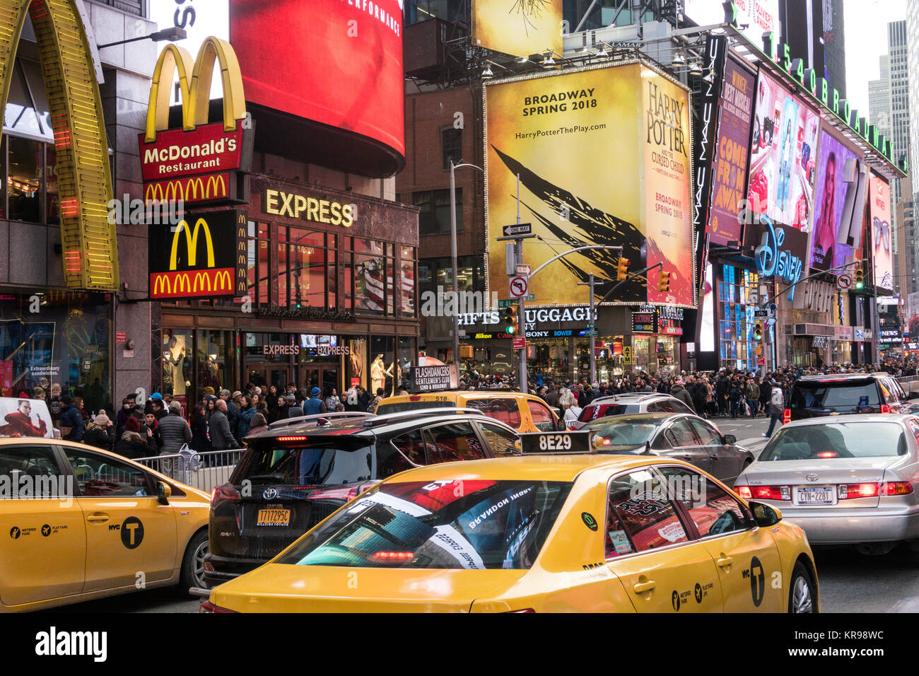 Traffic and Electronic Billboards in Times Square, NYC, USA - Stock Image