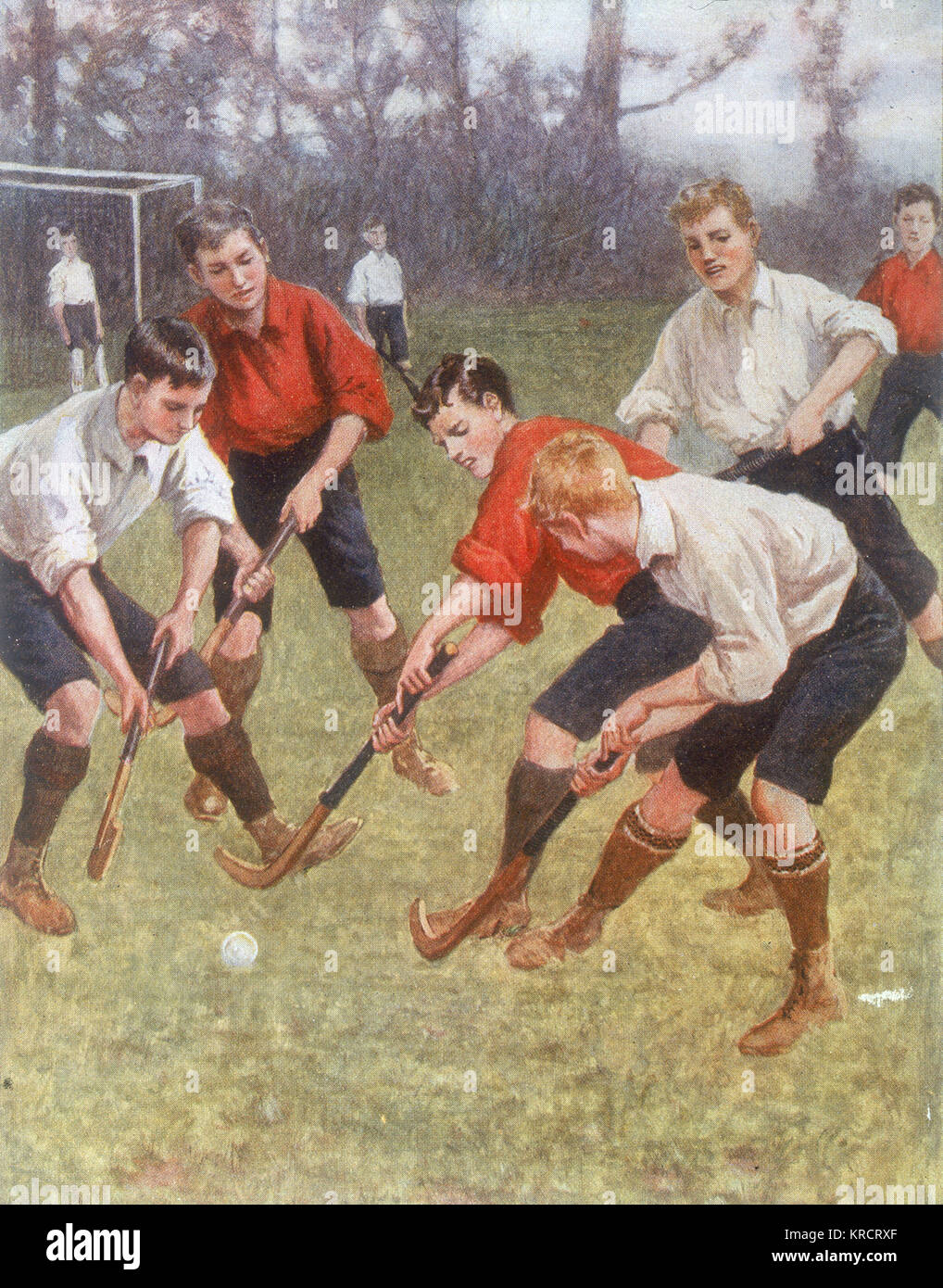 A boys' hockey game Date: 1908 - Stock Image