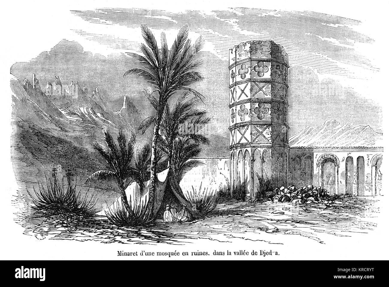 Ruined mosque with minaret Date: 1854 - Stock Image