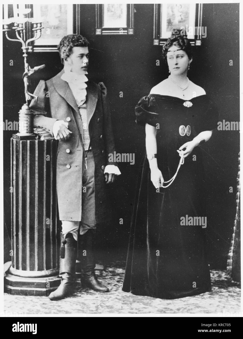 NICOLAS II OF RUSSIA Russian Tsar with Grand Duchess Elizabeth Feodorovna in theatrical costume (for the play Eugenie - Stock Image