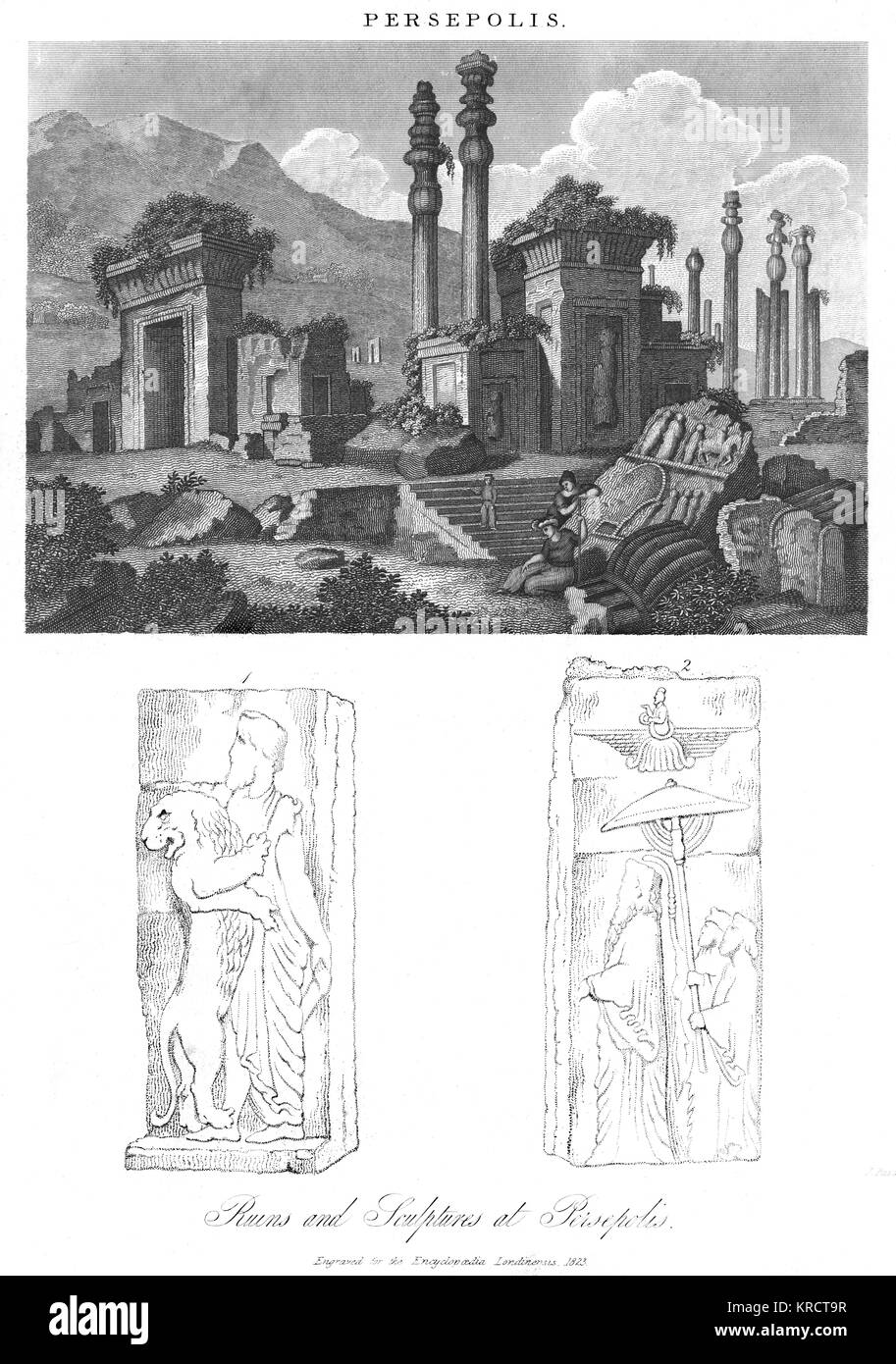 A fairly romanticised view of the ruins of Persepolis, prior to excavation, most of which was carried out by the - Stock Image