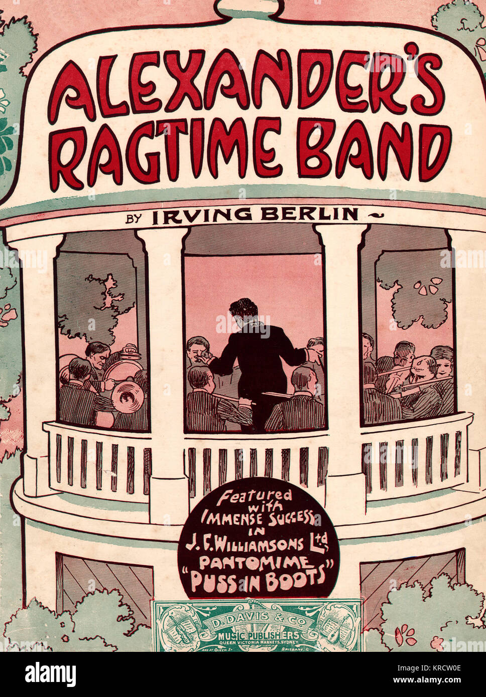 'ALEXANDER'S RAGTIME BAND' A ragtime jazz band in a bandstand; music sheet for the famous song by Irving - Stock Image