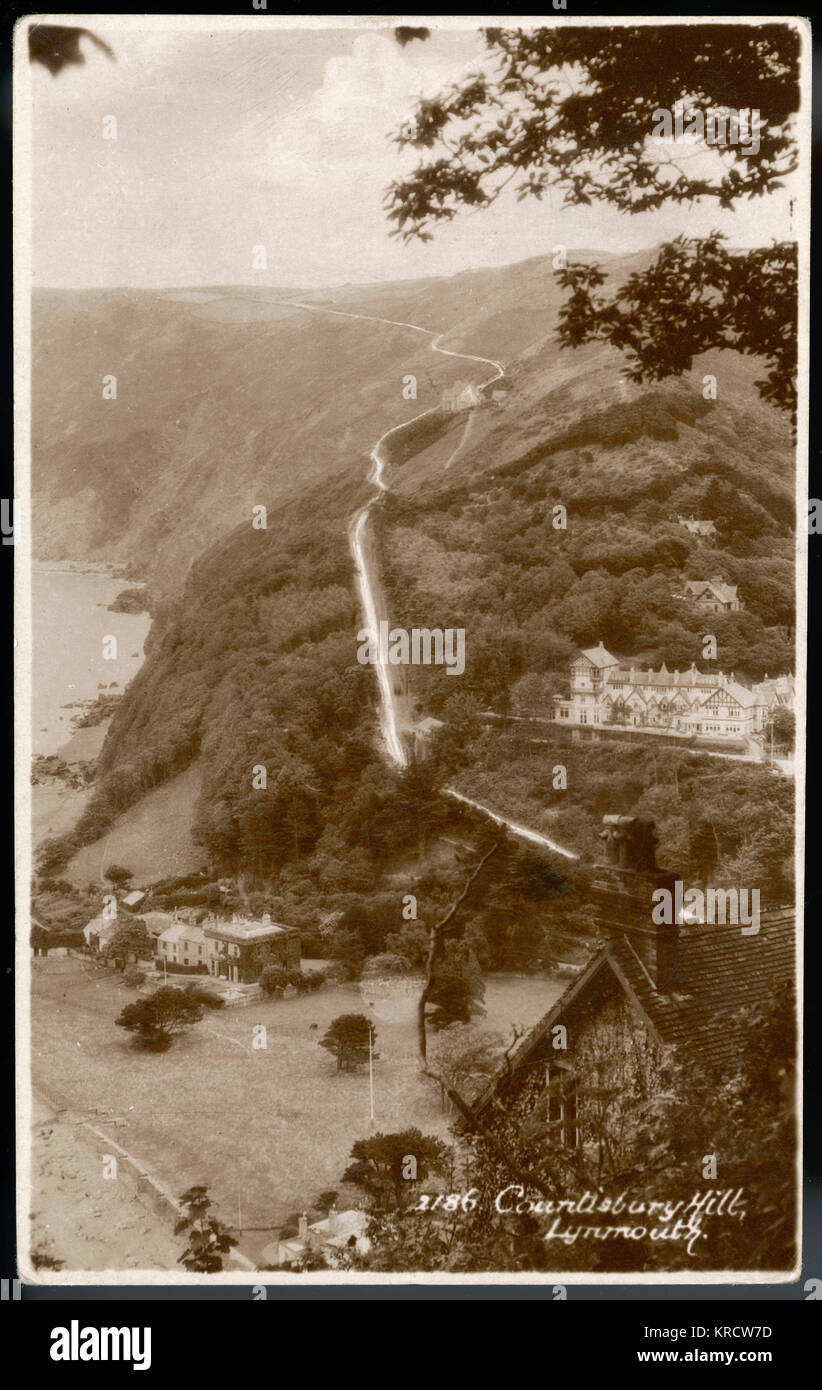Countisbury Hill, Lynmouth, Devon - starting innocently enough the road ends in a steep 1 in 4 gradient - the cause - Stock Image