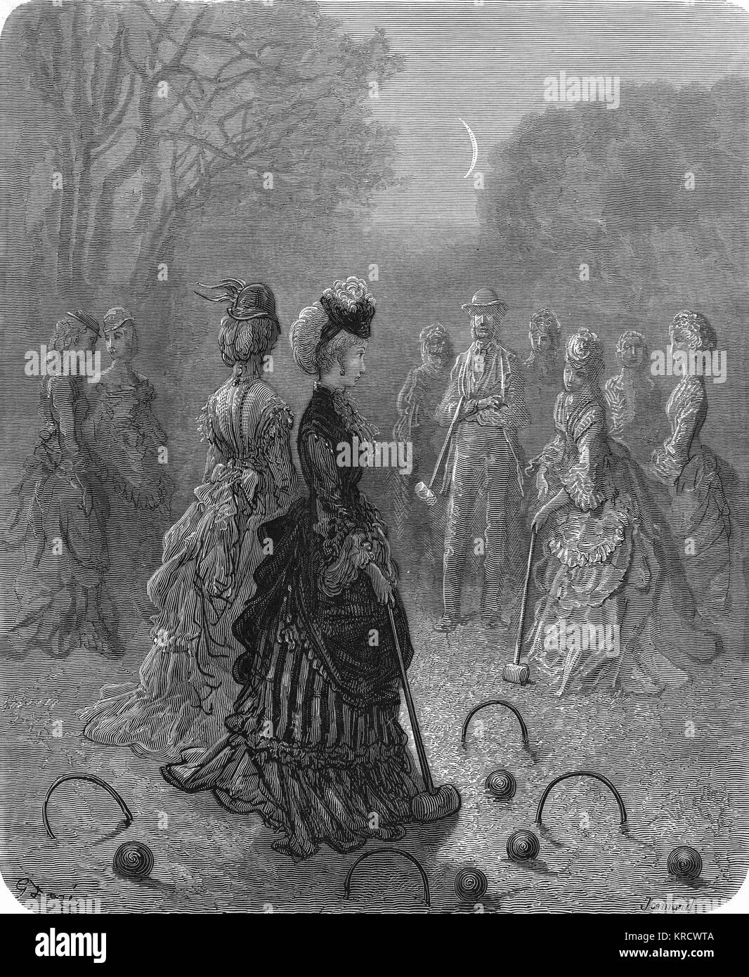 London's ladies and gentlemen even play croquet at night! The central player seems rather distracted though... - Stock Image