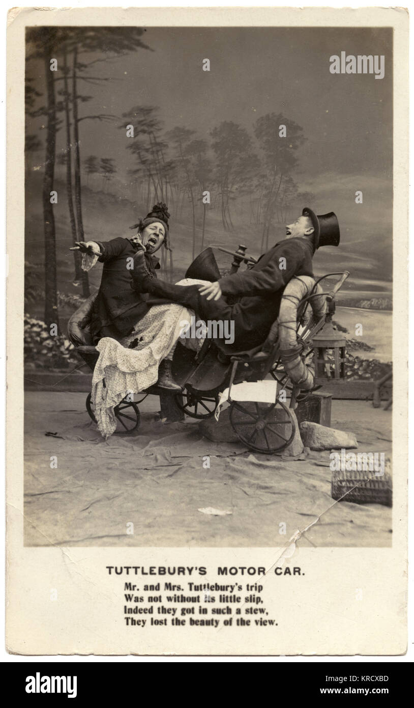 Humorous staged motor accident photographed in a studio. 'Mr. and Mrs.Tuttlebury'strip was not without its - Stock Image
