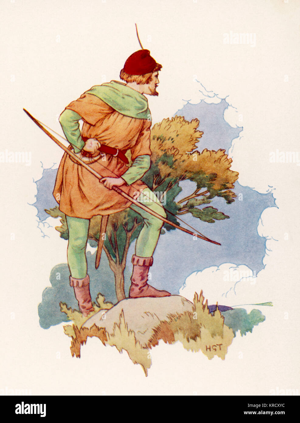 Robin Hood keeping a lookout for  his enemy, Guy of Gisbourne,  from a safe distance.        Date: circa 1930 - Stock Image