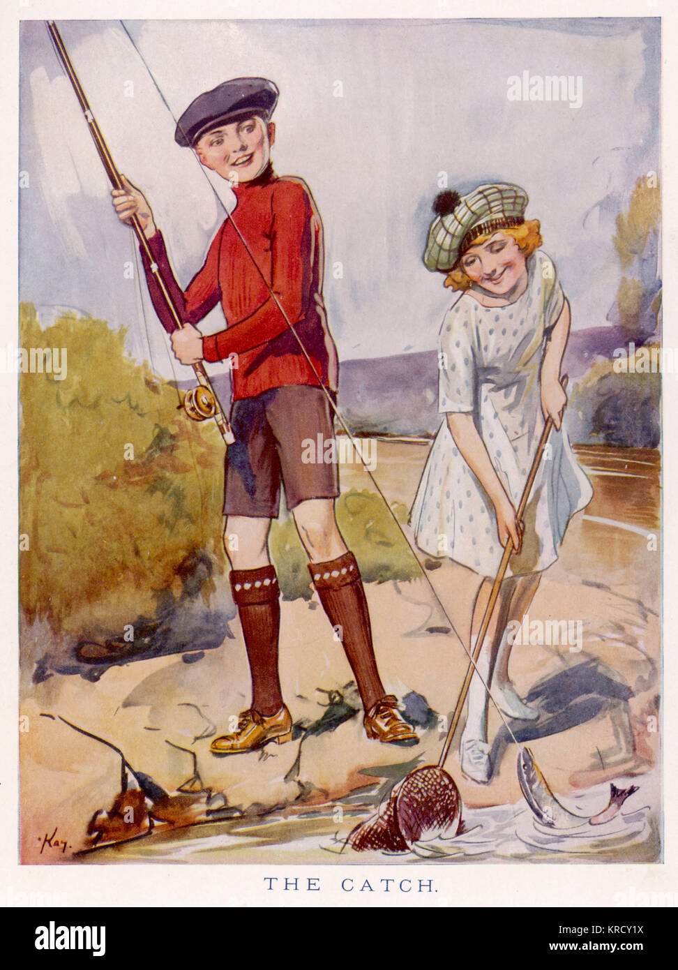 A boy catches a fish from the  river and his girl companion  helps to net it.        Date: 1923 - Stock Image