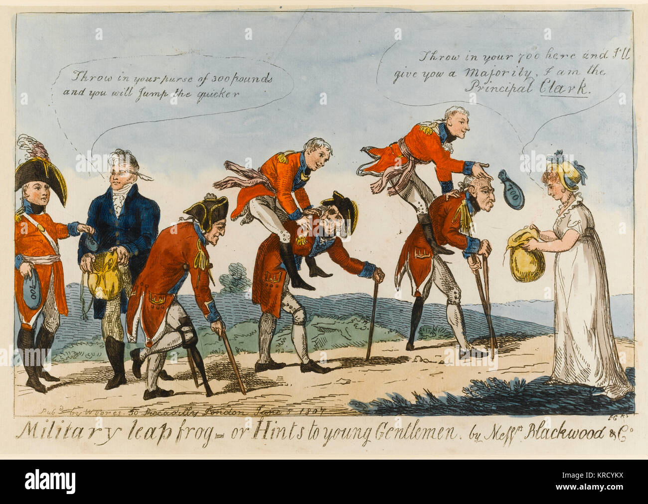 Satirical cartoon, Military Leap frog or Hints to young Gentlemen by Messrs Blackwood & Co.  Mrs Clarke - Stock Image